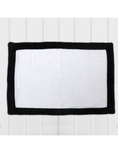 Customizable black terry cloth bath mat with white terry cloth edge