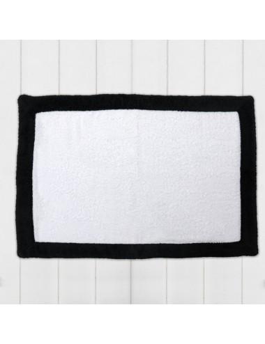 Tappetino personalizzabile in spugna nero con bordo in spugna bianca