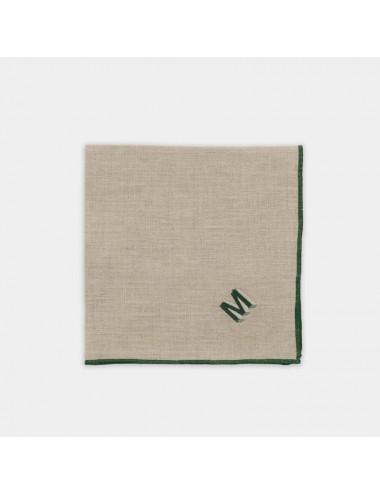 Tovagliolo in puro lino color corda con ricamo verde