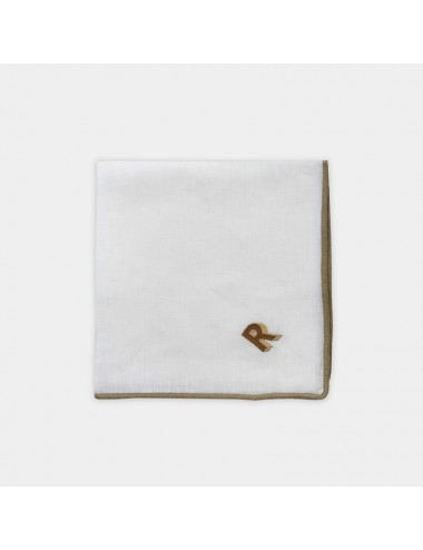 Set of 6 white napkins made of pure linen with blue marine embroidery