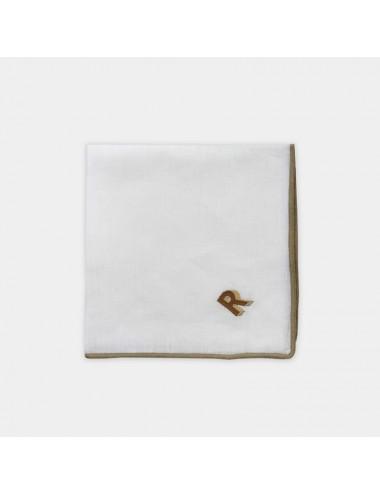 Tovagliolo in puro lino nero con ricamo bianco