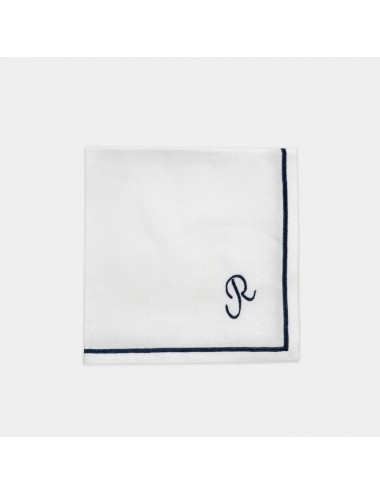 Tovagliolo in puro lino bianco con ricamo blu