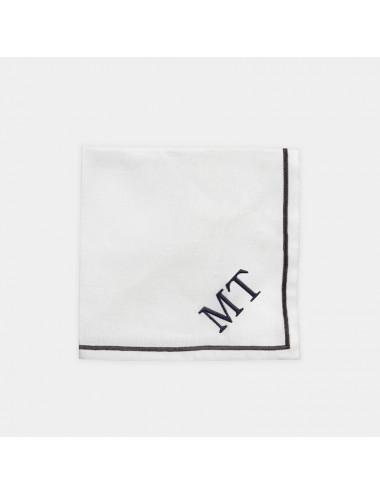Tovagliolo in puro lino bianco con ricamo nero
