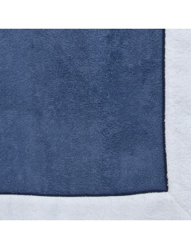 Blue terry cloth towel with a white starfish embroidery