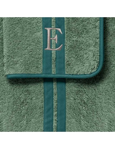 Coppia asciugamani in spugna verde doppia riga azzurra