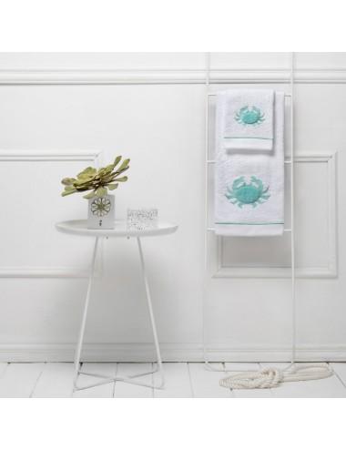 Coppia asciugamani in spugna bianca con ricamo granchio