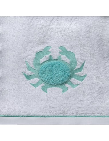 Gray beach towel terry cloth with white coral embroidery