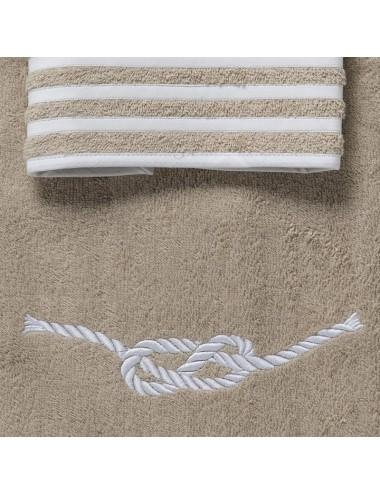 Coppia asciugamani in spugna sabbia con ricamo nodo marinaro