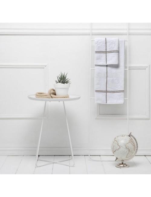 Coppia asciugamani in spugna bianca con incroci tortora