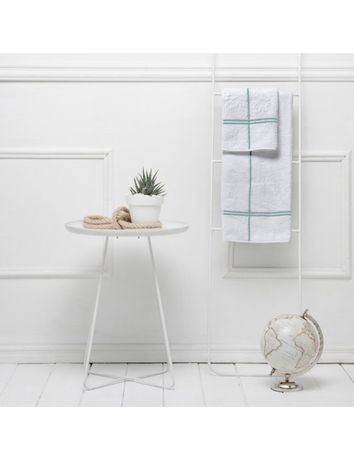 Coppia asciugamani in spugna bianca con incroci verde acqua