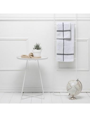 Coppia asciugamani in spugna bianca con incroci neri