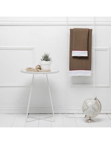 Coppia asciugamani in apone tortora con bordo in apone bianco