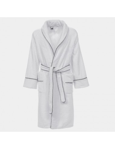 Blue terry cloth bathrobe with white waffle weaver edges