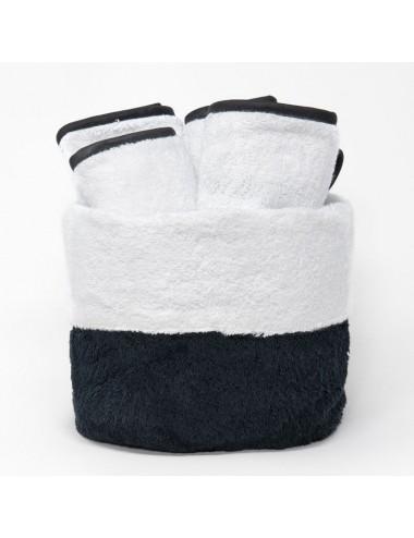 Cestino in spugna nera con interno in spugna bianca e lavette