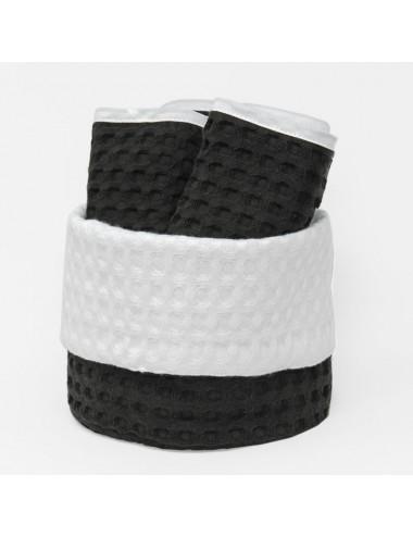 Cestino tondo in apone nero con interno in apone bianco e lavette