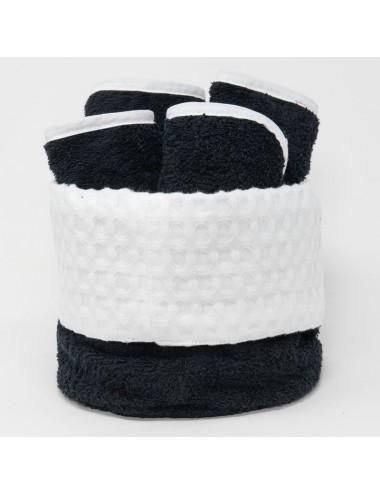 Cestino tondo in spugna nera con interno in apone bianco e lavette