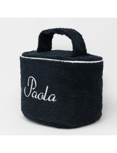 Customizable oval beauty case in black terry cloth