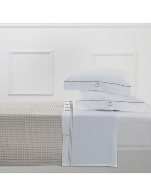 Completo letto in percalle bianco e ricamo àncora