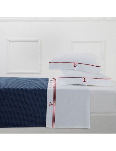 A white percale set of sheets with double black riveting
