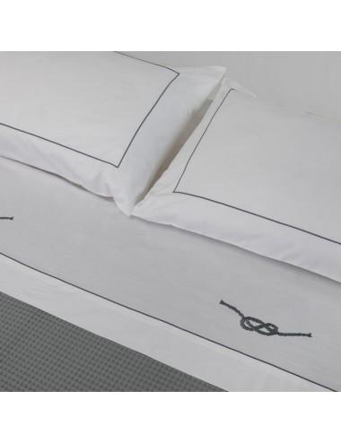 Completo letto in percalle bianco e ricamo nodo marinaro