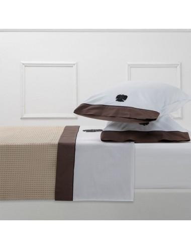 Completo letto in percalle bianco e ricamo gorgonia
