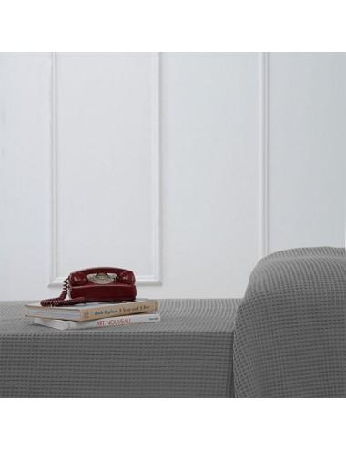 Quilt in pure gray linen