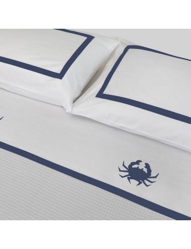 Completo letto in percalle bianco e ricamo granchio