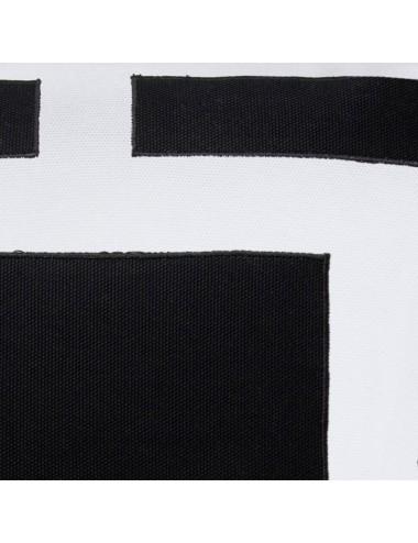 Cuscino in cotone bianco con doppia cornice nera