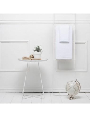 Coppia asciugamani personalizzabili in spugna bianca con cordino in cotone bianco