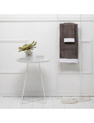 Coppia asciugamani personalizzabili in spugna grigia con bordo in apone bianco