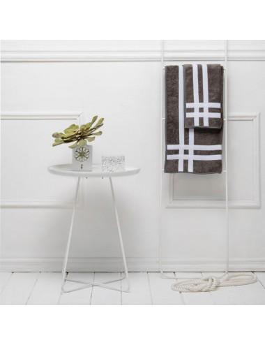 Coppia asciugamani personalizzabili in spugna grigia con doppio incrocio in gros grain bianco